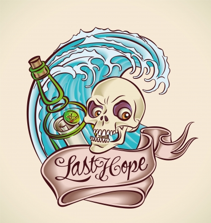 sailors: Vintage tattoo design with bottle, skull, banner and wave