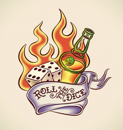 Vintage tattoo design with dice, rum, flame and banner