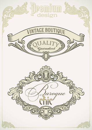Set of Baroque styled labels Stock Vector - 19820213