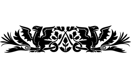 armband: Medieval pattern with bizarre creatures look like dragons and thistle as a Scotch national symbol  Good as an armband tattoo