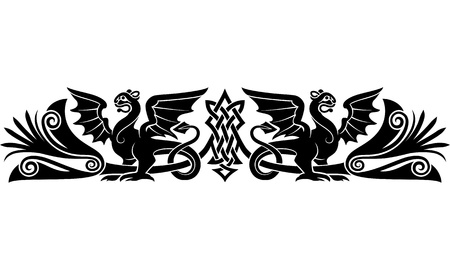 celtic mythology: Medieval Celtic pattern with bizarre creatures look like griffins or dragons  Good as an armband tattoo  Illustration