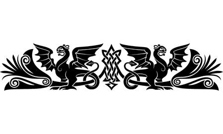gargouilles: Motif celtique m�di�vale avec des cr�atures bizarres ressemble griffons ou des dragons bons comme un tatouage brassard