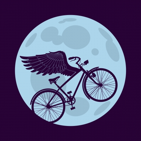 Cruiser bicycle is flying with wings over the circle of the moon Vector