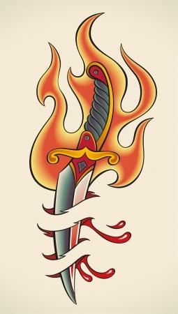 плоть: Старая школа стиль татуировки пламенный кинжал и кровотечения плоти