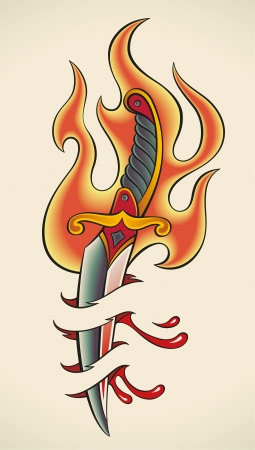 dagger: Old-school styled tattoo of a flaming dagger and bleeding flesh Illustration
