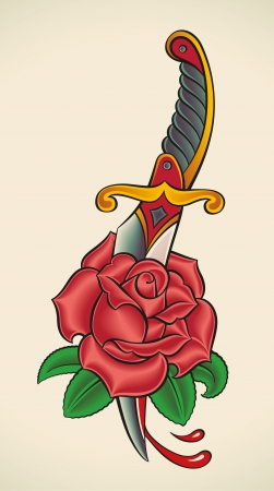 Old-school styled tattoo of a dagger through rose   Illustration