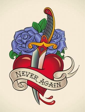 Old-school stijl tatoeage van een dolk door het hart met blauwe rozen op de achtergrond