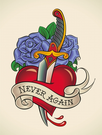 Old-school styled tattoo of a dagger through heart with blue roses on the background  Illustration