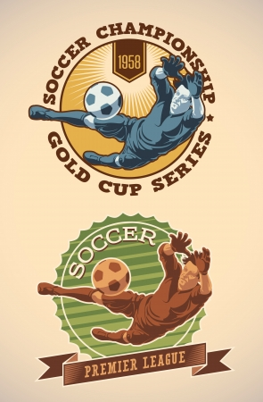goalkeeper: Vintage-styled soccer champs labels including an image of goalkeeper