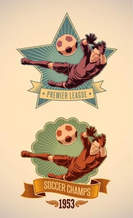 portero: Etiqueta campeonato de fútbol Vintage-estilo incluyendo una imagen del portero