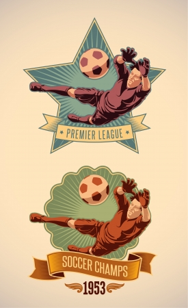 Vintage-styled soccer championship label including an image of goalkeeper  Vector