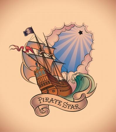 vecchia nave: Vecchia scuola tatuaggio in stile di una nave pirata sullo sfondo di una splendente stella nera e un banner