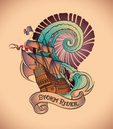Old-school styled tattoo of a galleon on the background of a great water swirl  Vector