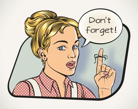 若い女性は漫画のスタイルで何か remindling