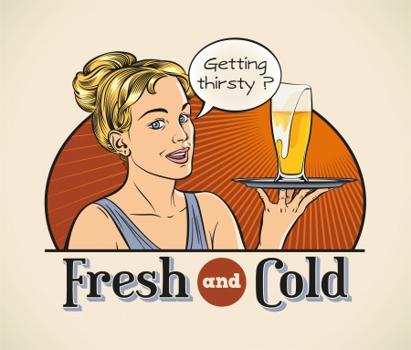 pilsner beer: Cute cheerful blonde with a pint of beer on a tray