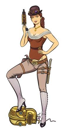 mujer con pistola: Joven mujer hermosa vestida en estilo punky del vapor es la celebración de una pistola en la mano Vectores