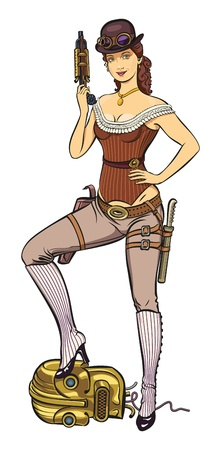 Young beautiful lady dressed up in steam punk style is holding a gun in her hand