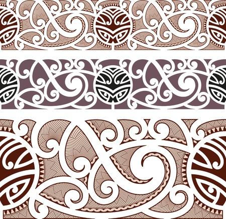 폴리네시아: 마오리 원활한 패턴 스타일
