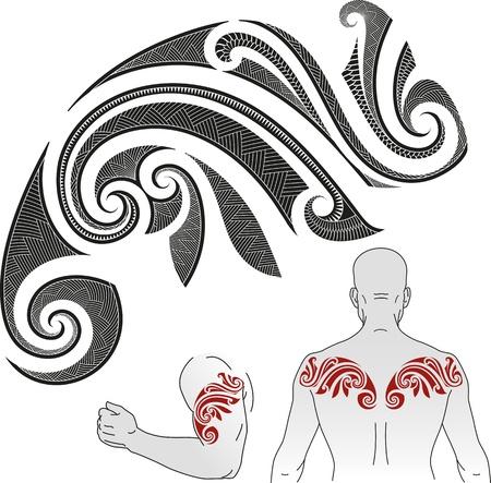 tribali: Maori styled modello tatuaggio a forma di camaleonte Buono per una spalla o una parte superiore della schiena Vettoriali