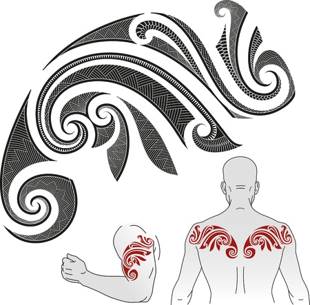Maori styled tattoo pattern in a shape of chameleon  Good for a shoulder or an upper back  Иллюстрация