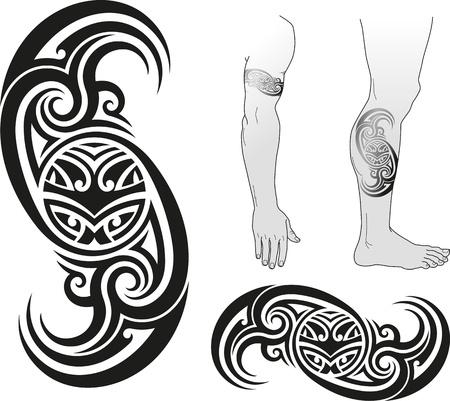 maories: Diseño tradicional del tatuaje maorí con la cara Taniwha en un remolino Bueno para los brazos y las piernas Vectores