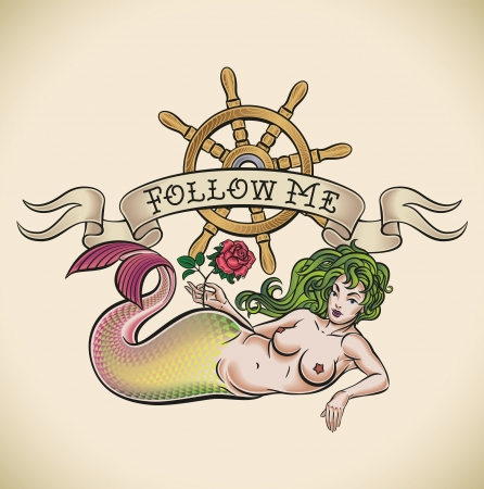 Old-school styled tattoo of a green hair mermaid with a red rose, a nautical steering wheel and a banner Stock Vector - 21845382
