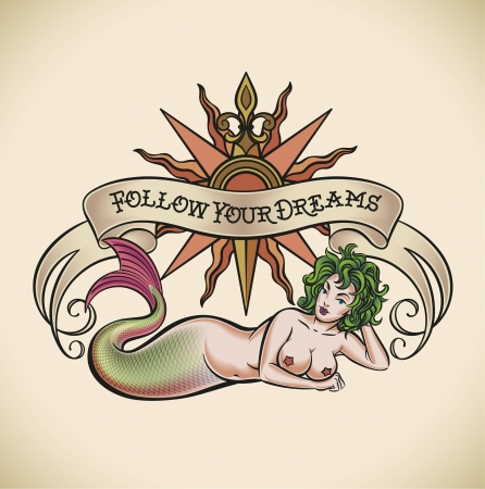 Old-school styled tattoo of a green hair mermaid on the background of a rose of winds and a banner Stock Vector - 21845340