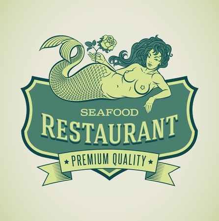 Retro-styled seafood restaurant label including an image of mermaid