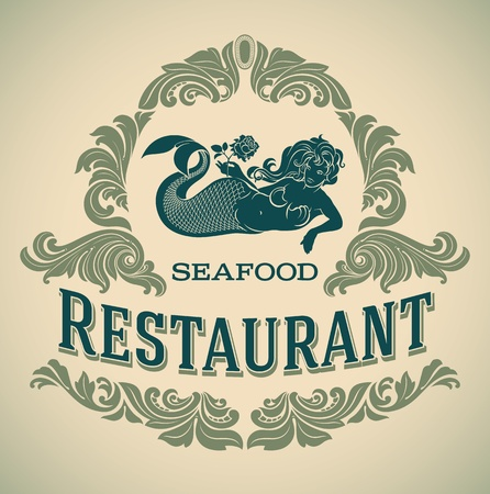 Retro-styled seafood restaurant label including an image of mermaid Vector