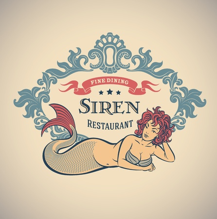 Retro-styled fine dining restaurant label including the image of a mermaid  Иллюстрация