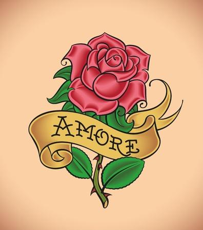 古い学校のスタイルの赤い薔薇のタトゥーとバナー