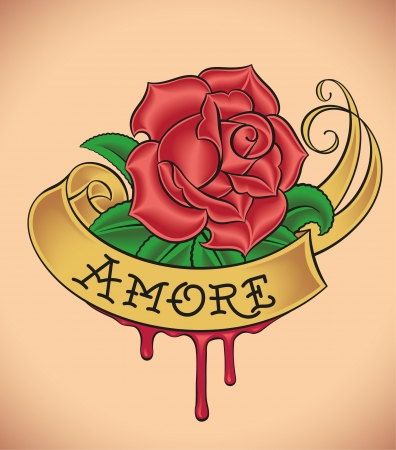 amore: Old-school styled tattoo of a red rose, golden banner and fresh blood