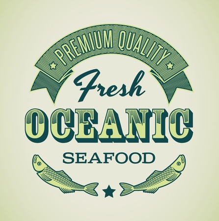 Retro-styled seafood label including images of fish   Vector