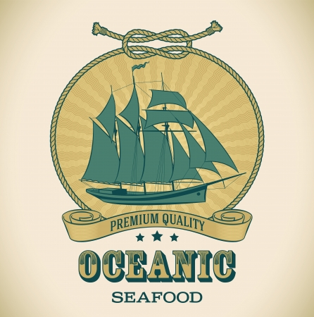 schooner: Retro-styled seafood label including image of sailboat