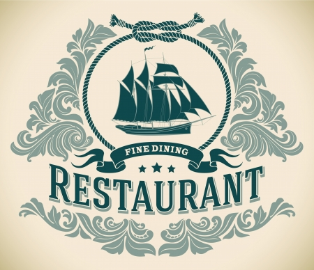fine dining: Retro-styled fine dining restaurant label including the image of a sailboat  Editable vector illustration  Illustration