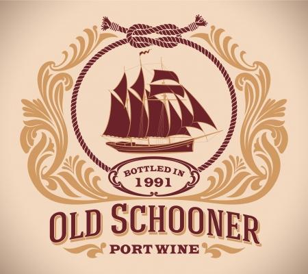 Rétro-disant étiquette de vin de port, y compris l'image d'un voilier
