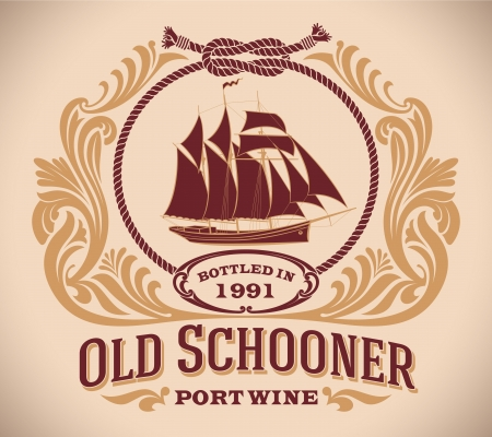 schooner: Retro-styled port wine label including the image of a sailboat