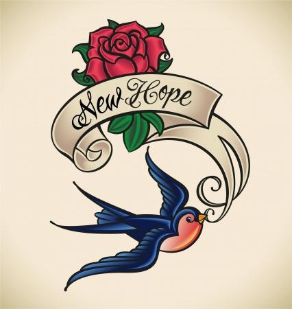 Old-school stijl tattoo met een zwaluw, banner en rose