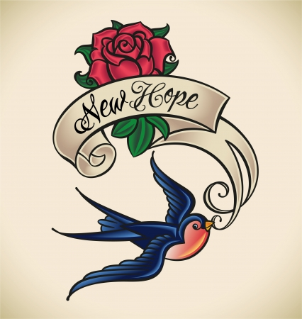 classic tattoo: Old-school styled tattoo with a swallow, banner and rose   Illustration