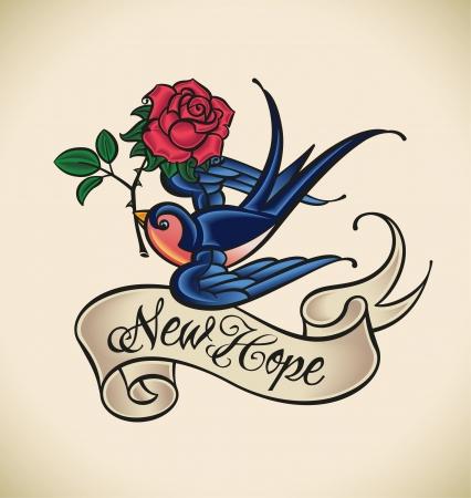tatouage oiseau: La vieille �cole de style de tatouage avec une hirondelle, banni�re et rose Illustration