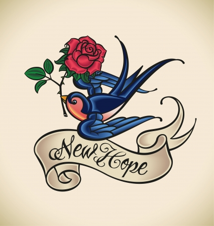 rose tattoo: Old-school styled tattoo with a swallow, banner and rose