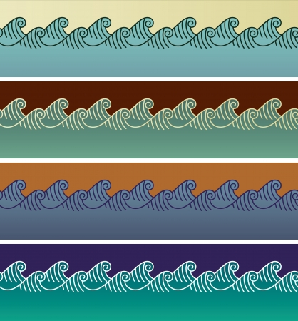 Set of wave seamless patterns made in Asian style