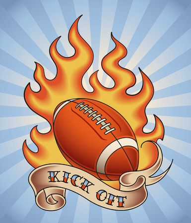 American football tattoo design of a leather ball in flame  Editable vector illustration  Vector