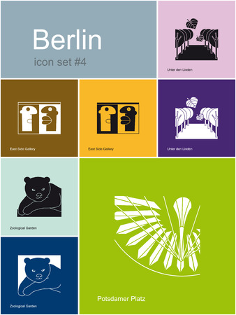 berlin: Landmarks of Berlin  Set of flat color icons in Metro style  Editable vector illustration  Illustration