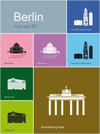 Bezienswaardigheden van Berlijn Reeks vlakke kleuren iconen in Metro stijl Bewerkbare vector illustratie