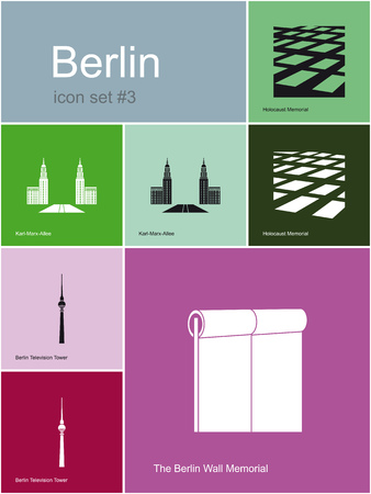 holocaust: Landmarks of Berlin  Set of flat color icons in Metro style  Editable vector illustration  Illustration