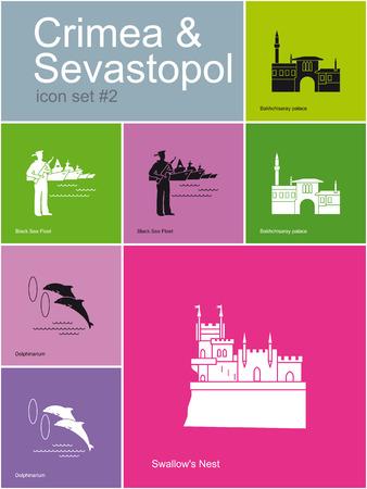 palacio ruso: Monumentos históricos de Crimea Sevastopol Set de iconos de colores planos en estilo Metro editable ilustración vectorial