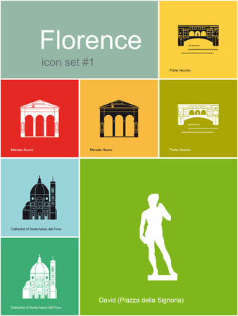 Landmarks of Florence  Set of flat color icons in Metro style  Editable vector illustration  Vector