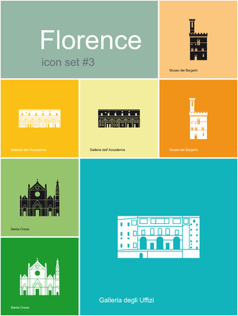 florence   italy: Landmarks of Florence  Set of flat color icons in Metro style  Editable vector illustration