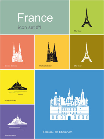 must: Landmarks of France  Set of flat color icons in Metro style  Editable vector illustration